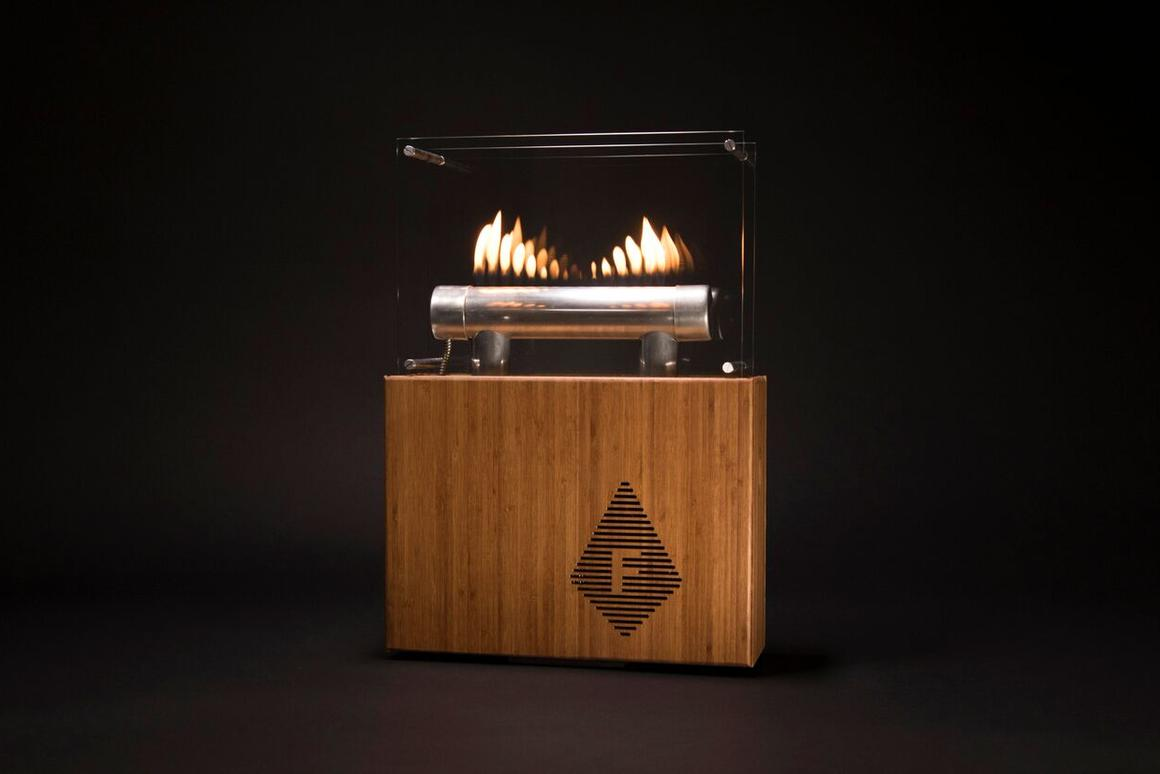 Designer Tyrone Hazen has developed a Bluetooth speaker called the Fireside Audiobox, which pulses fire to the beat of your music