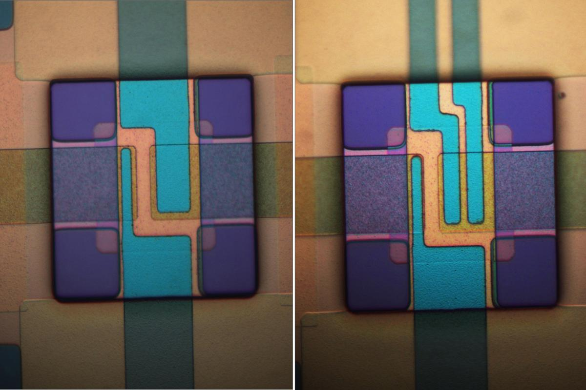 These two logic gates (XOR on the right, AND on the left) are made of microscopic mechanical parts and designed to resist ionizing radiation that fries conventional silicon electronics (Image: Massood Tabib-Azar/University of Utah)