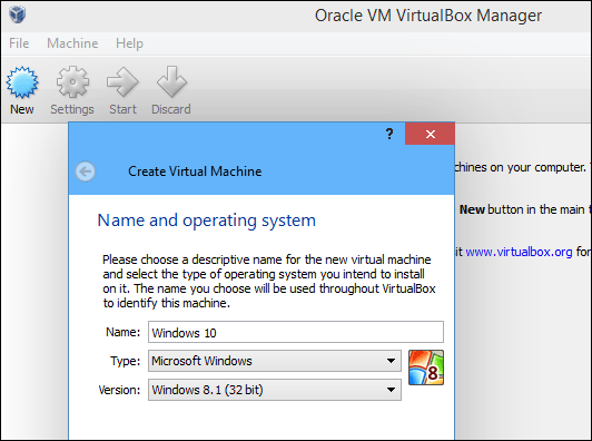 Create a new virtual machine for Windows 10