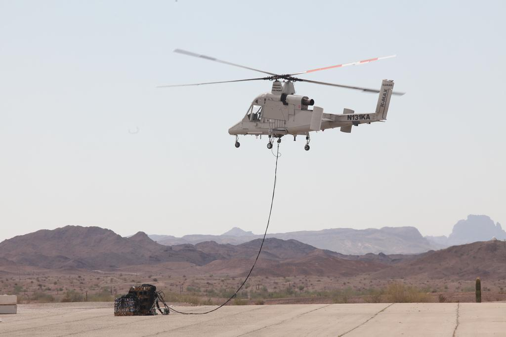 The unmanned K-MAX undergoing testing earlier this year (Image: Lockheed Martin)