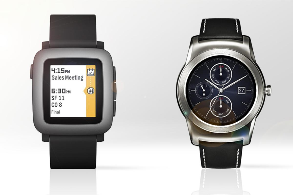 Gizmag compares the features and specs of the Pebble Time (left) and LG Watch Urbane smartwatches