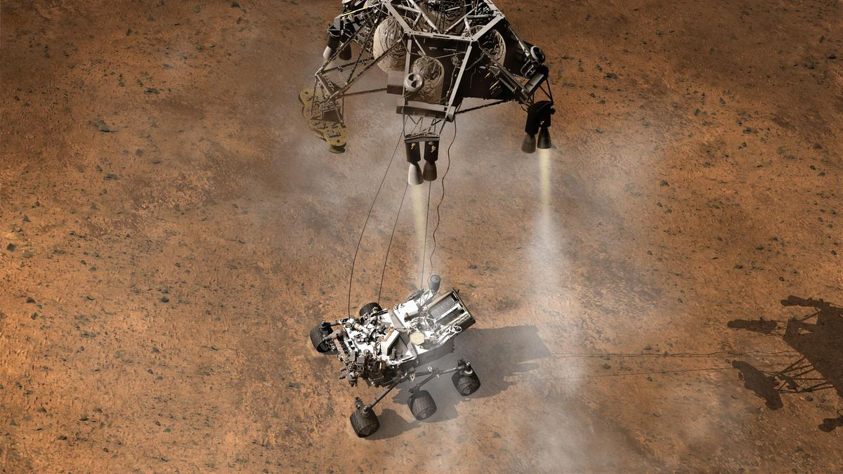 Artist's impression of the Curiosity landing (Image: NASA)