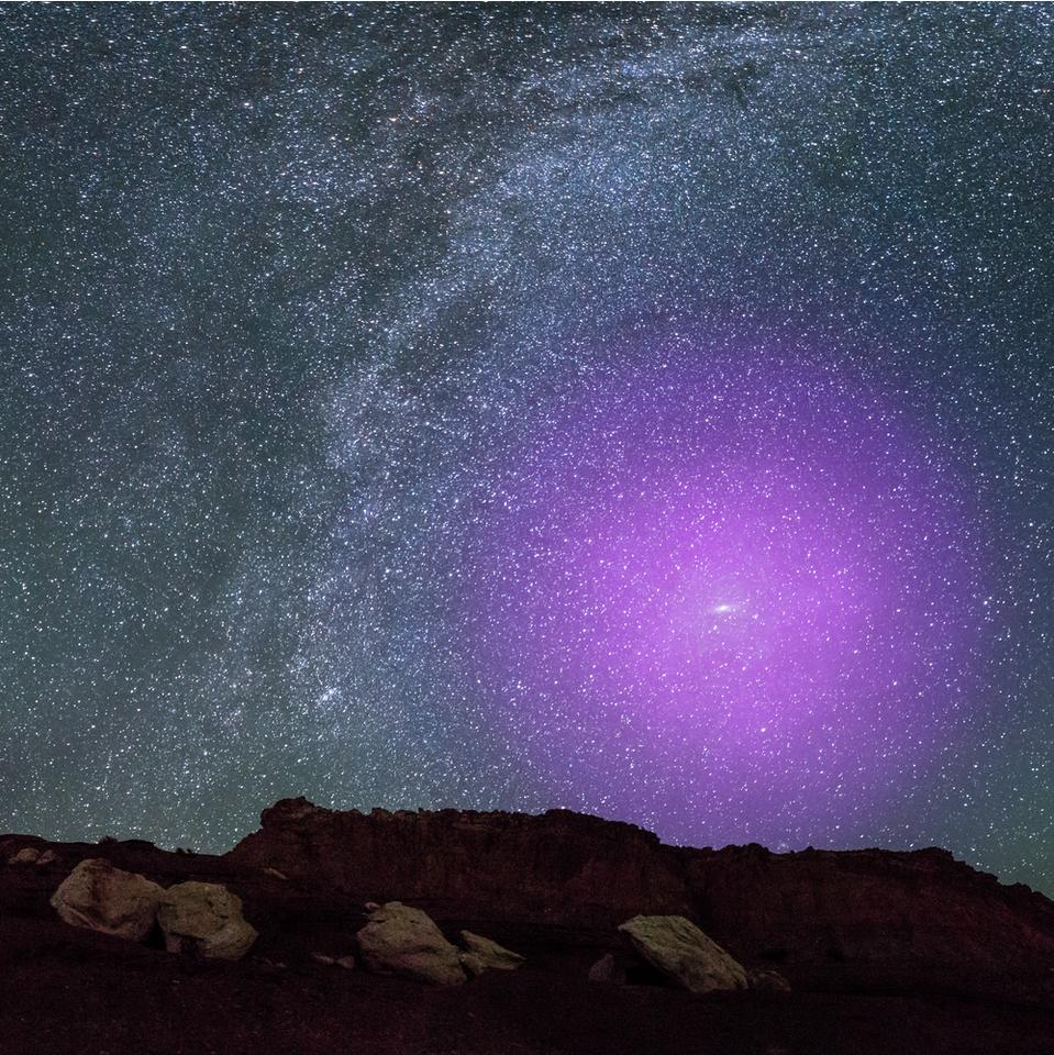 A composite image, showing how Andromeda's halo would look in the night sky were it visible to the naked eye