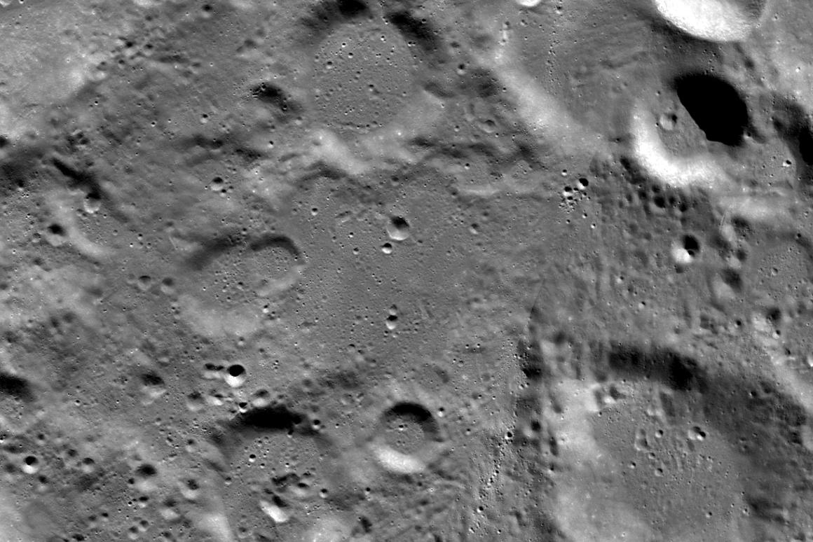 A view looking down on the Vikram landing site (image acquired before the landing attempt)