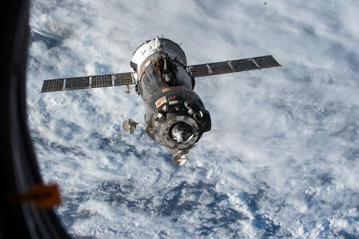 The ISS crew took shelter in a Soyuz space capsule similar to Soyuz TMA-15M, seen here