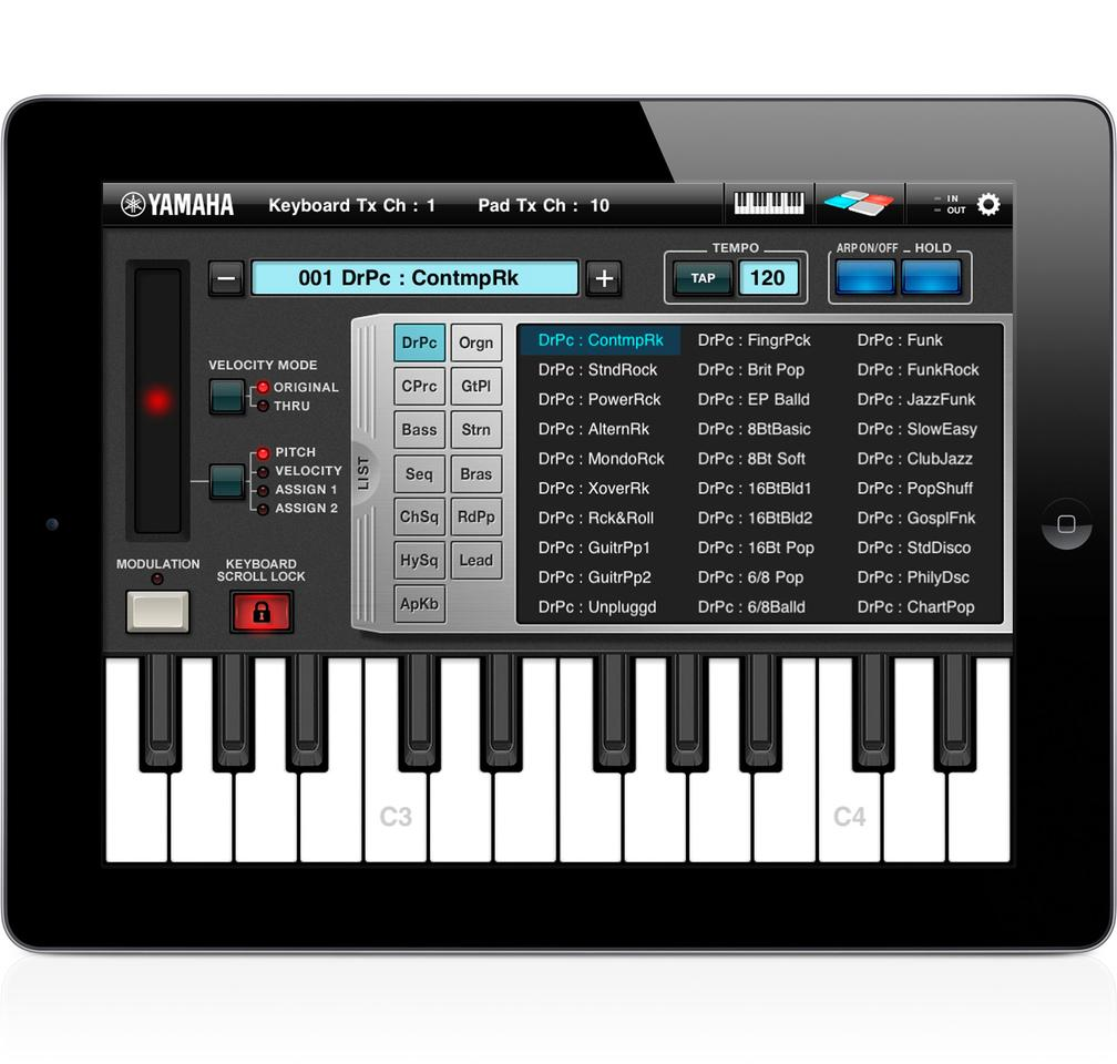 Yamaha Arp & Drum app instruments
