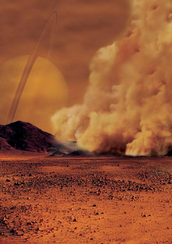Artist's impression of a dust storm on Titan