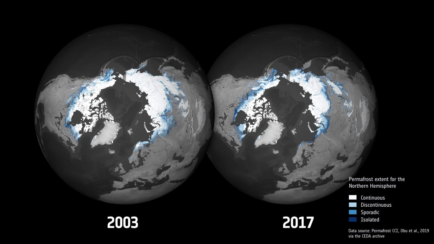 ESA maps showing the extent of permafrost in 2003 vs 2017
