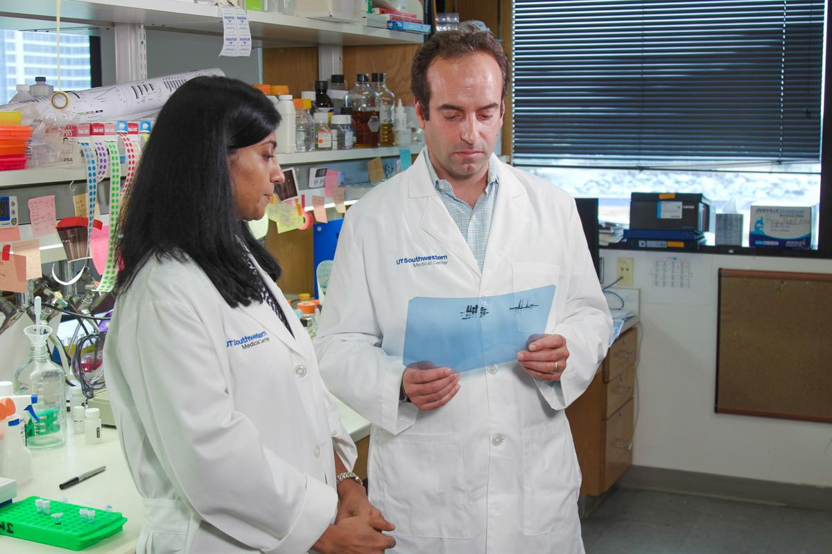 Professor of Molecular Biology and study co-author Joshua Mendell with lead author Dr. Asha Acharya