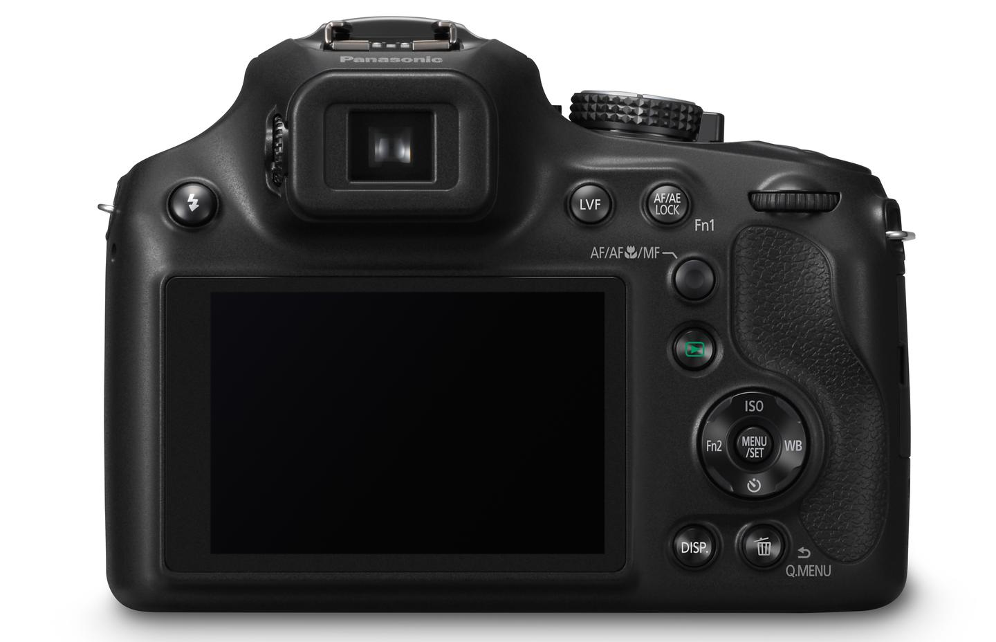 On the rear of the Panasonic Lumix DMC-FZ70 is a 3-inch monitor with 460K dots, and a 0.2-inch electronic viewfinder with a 202K dot equivalent resolution