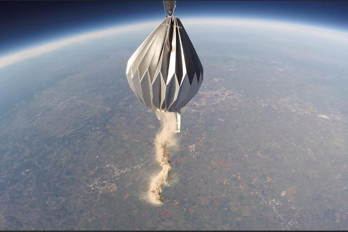 A view of Mesoloft-transported cremains being released 20 miles above the Earth's surface