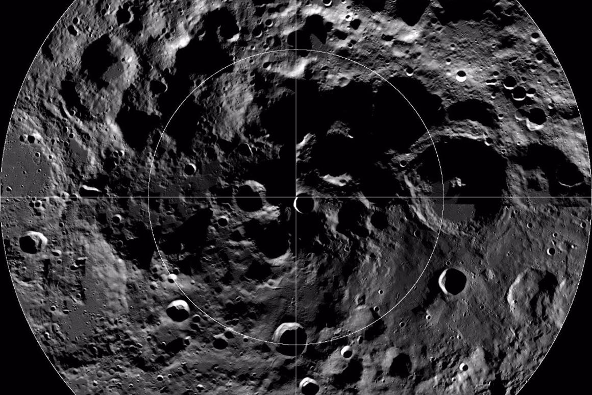 The bright and cold spots were found at the moon's south pole
