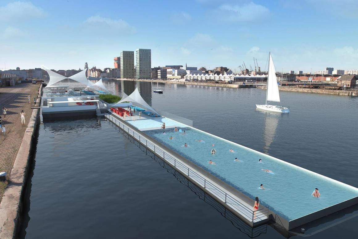 Adapted from a 1960s ferry, the 120-meter long Badboot floating lido is set to open this August in Antwerp, Belgium