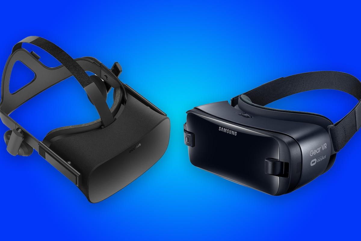 New Atlas compares the features and specs of the Oculus Rift (left) and 2017 Gear VR