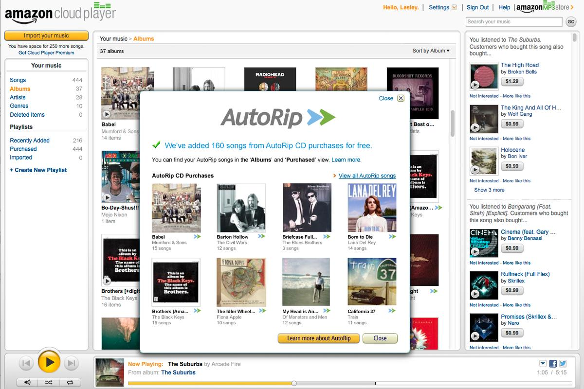 Customers who've bought CDs at any time since the company opened its Music Store in 1998 will find a free high-quality MP3 version landing in the Cloud Player library as soon as they become AutoRip eligible