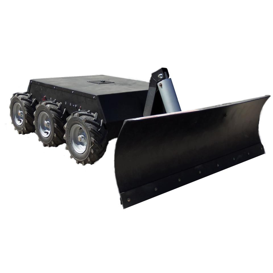 The SuperDroid snow plow has a pnwumatically-actuated plow