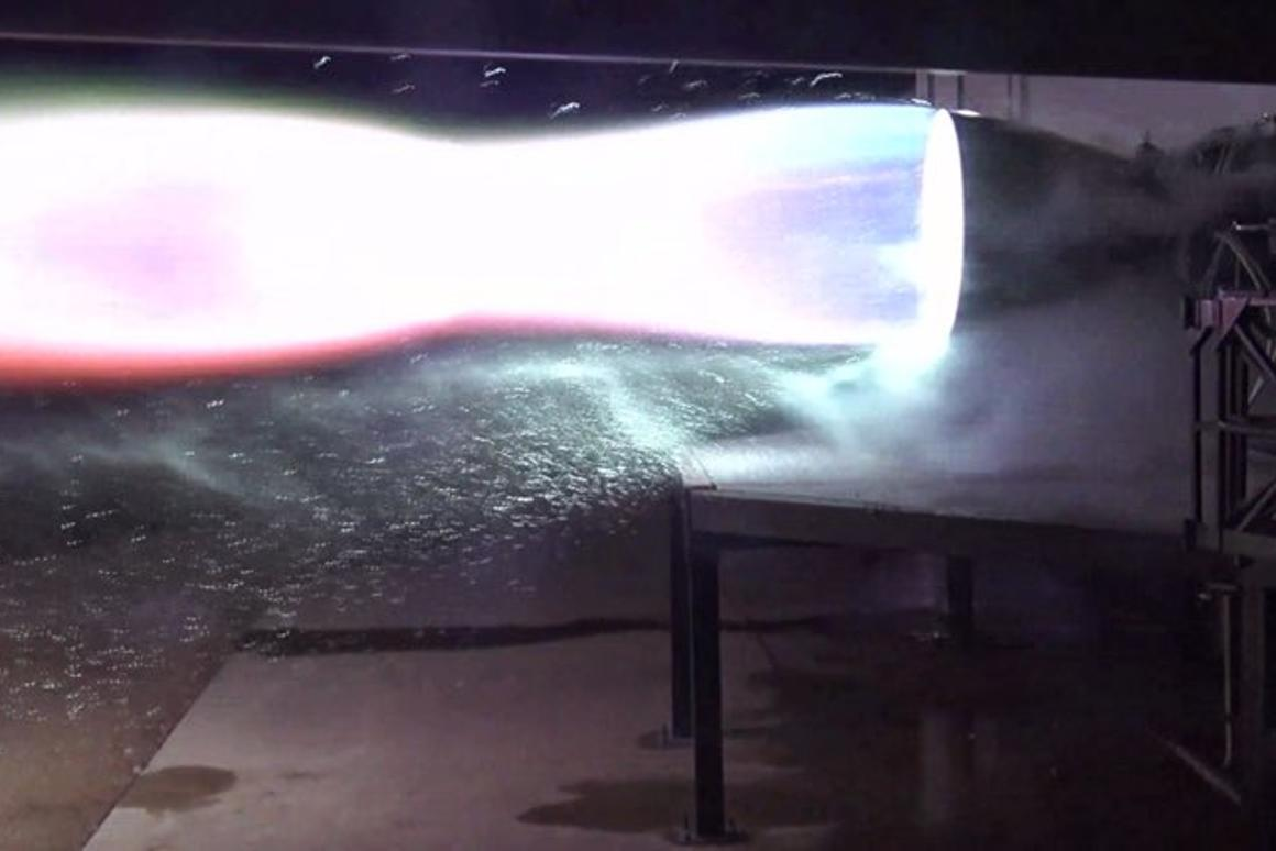 SpaceX test fires a flight version of its Raptor engine for the first time