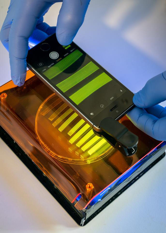 A smartphone is used to analyze the manner in which microfluidic strips change color when fluorescing