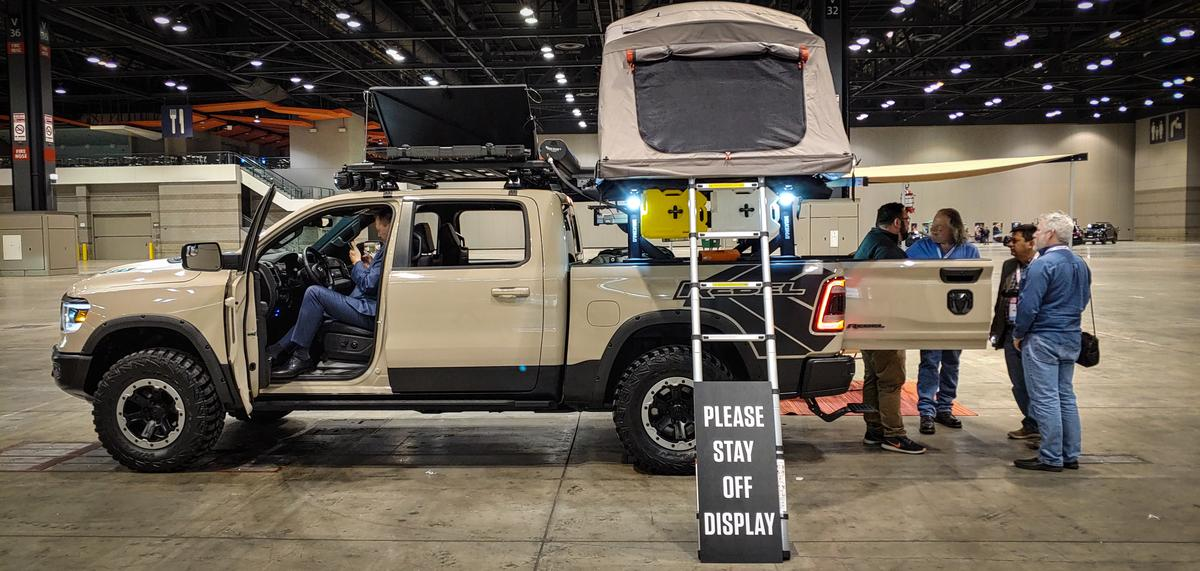 In the Concept and Technology Garage before the show, Ram Trucks showed this Rebel model outfitted with a full suite of available aftermarket camping and adventure gear
