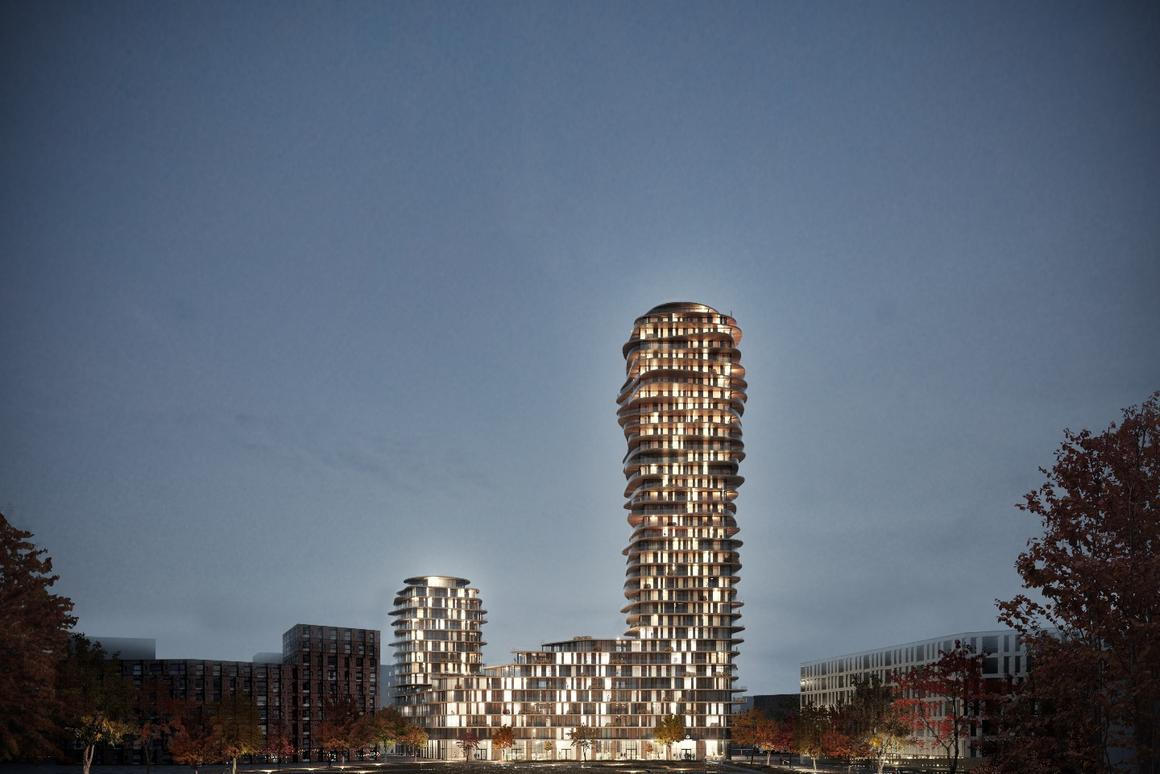 The Discus tower will house between 450 to 500 apartments of different sizes spread out over 30 floors
