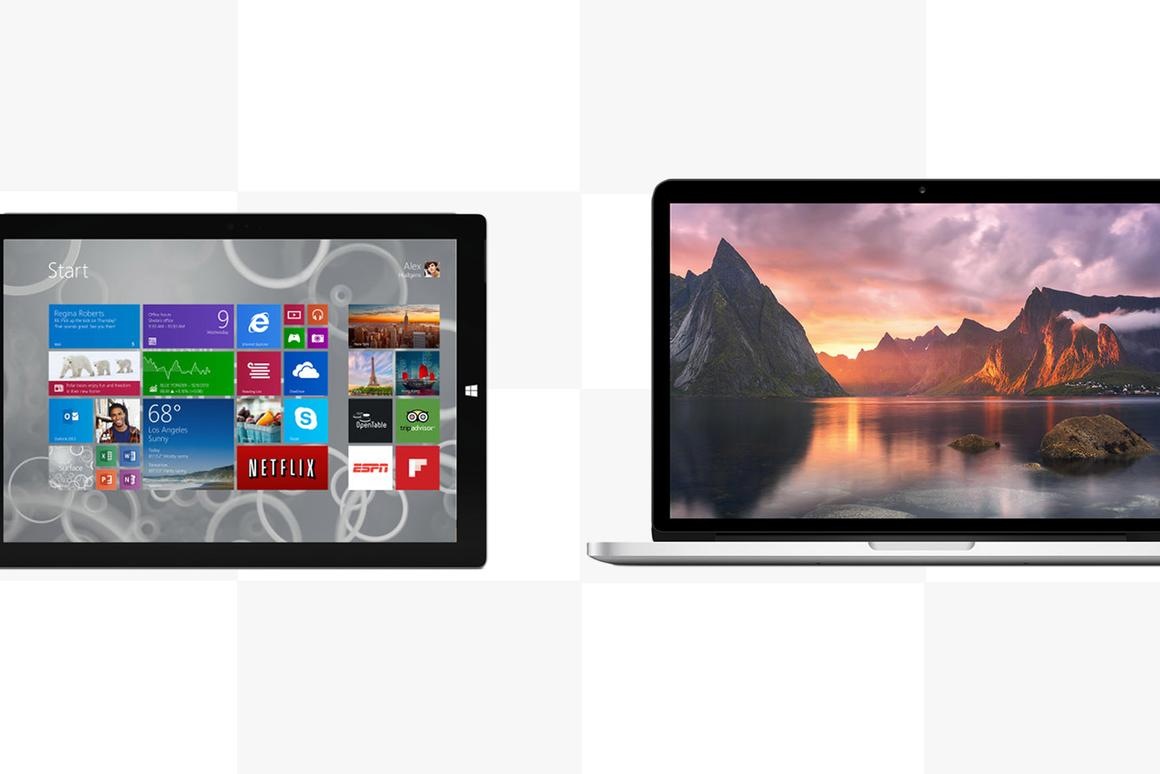 Gizmag compares the features and specs of the Microsoft Surface Pro 3 and Apple MacBook Pro with Retina Display (13-in)