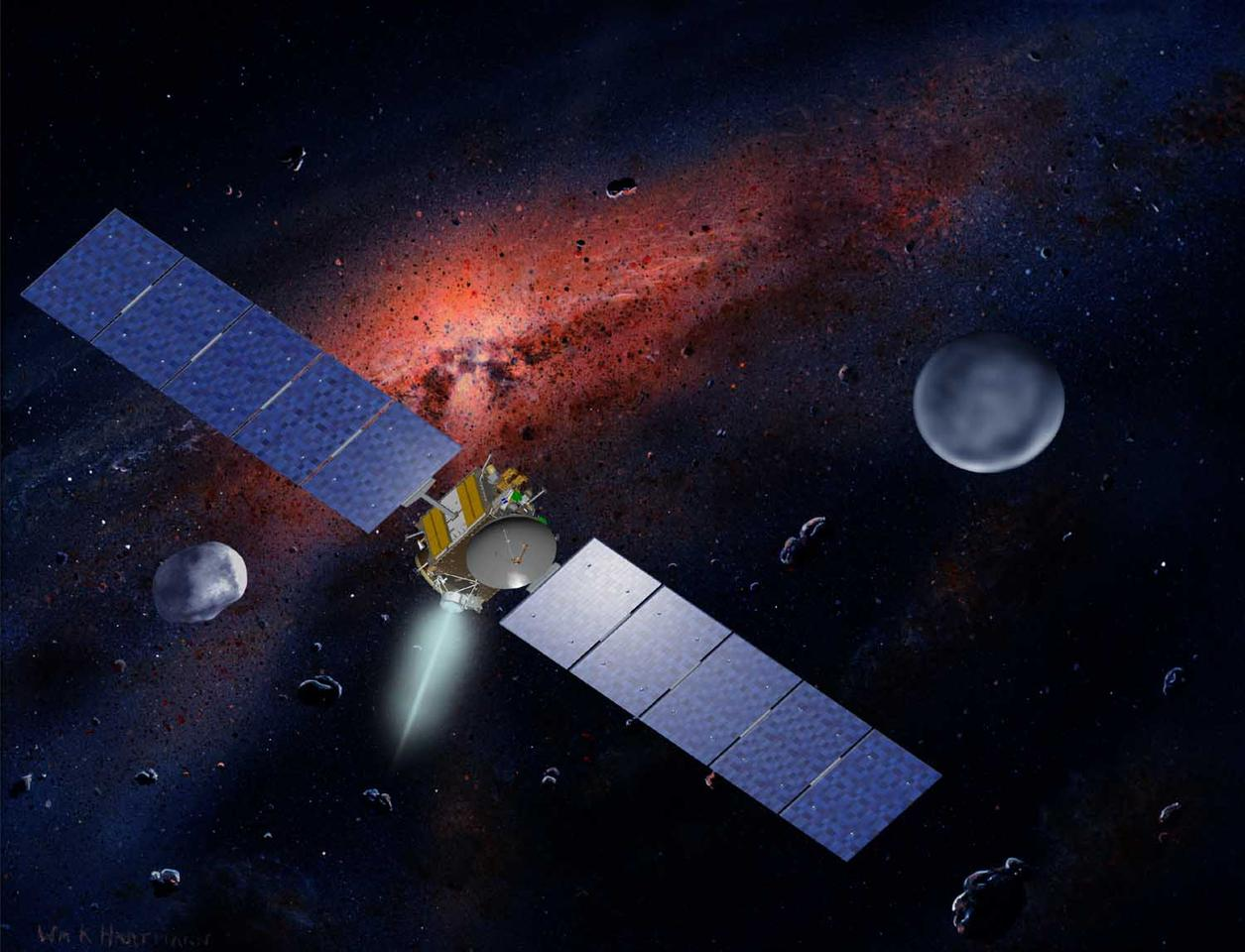 Artist concept showing the Dawn spacecraft with Ceres and Vesta (Image: William K. Hartmann Courtesy of UCLA)
