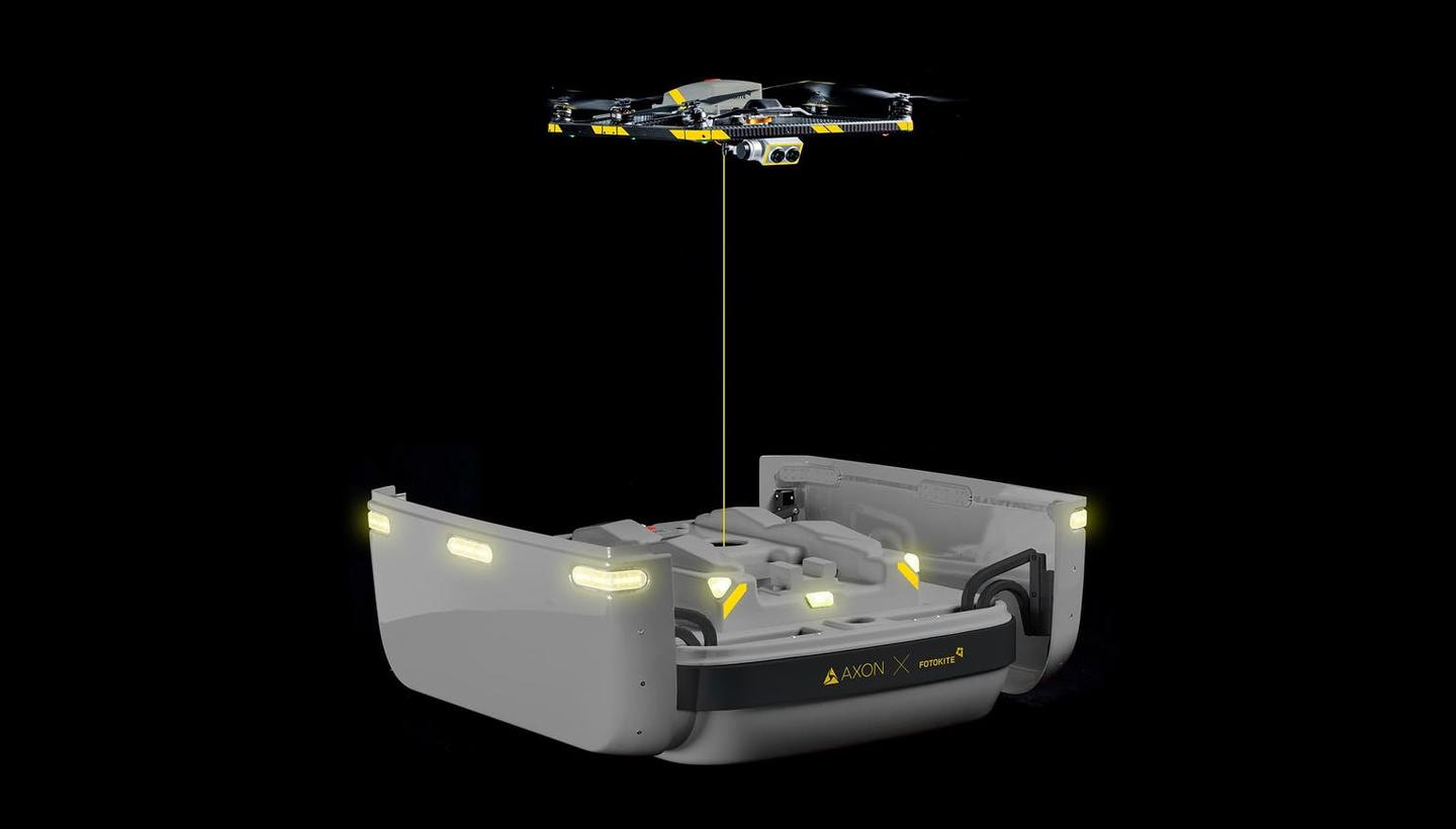 The Fotokite drone, shown here as part of the Axon Air system