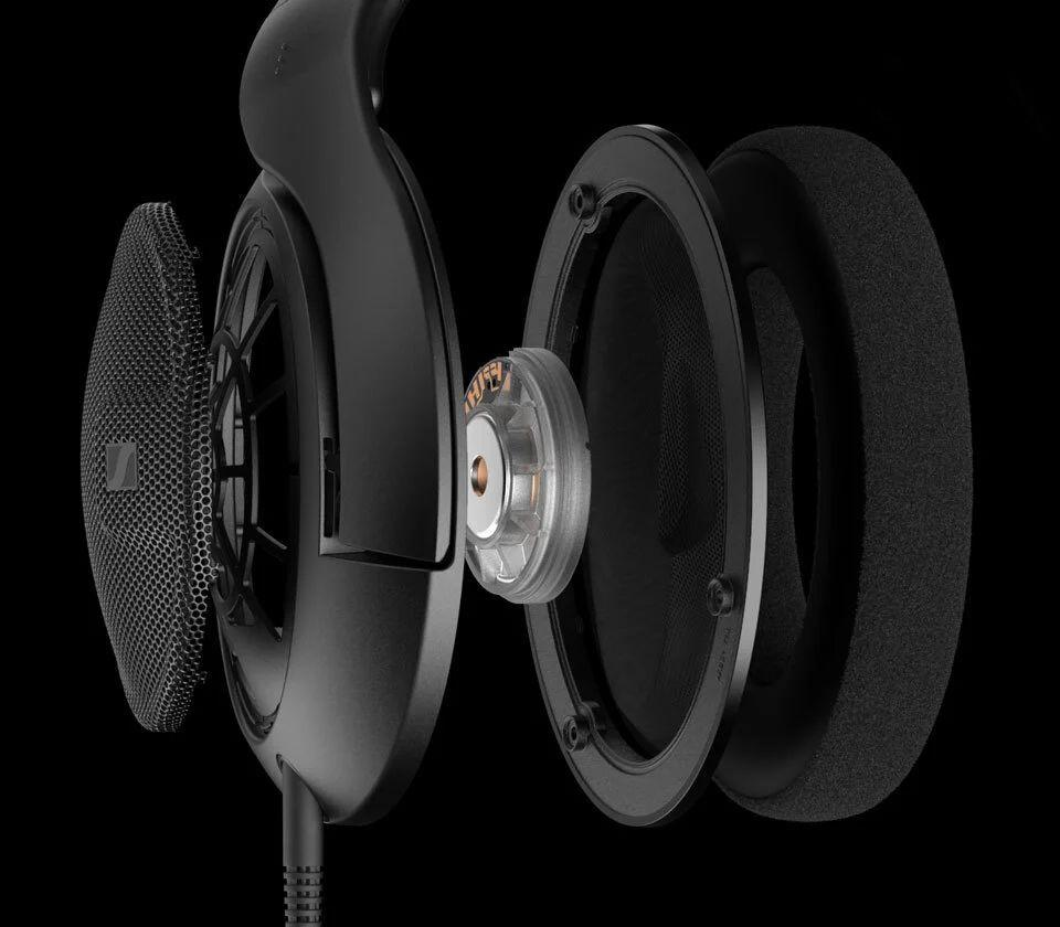 Exploded view of the HD 560S earcup, showing angled transducer, open-backed design and soft velour pads