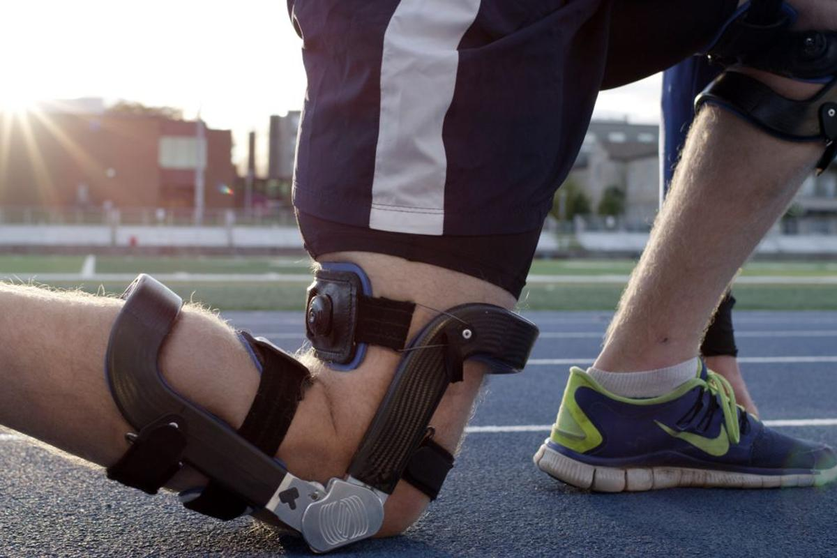The Levitation brace helps bend the user's knees back forward when walking or running