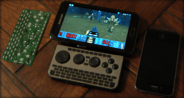 The iControlPad2 hooked up to an Android running Doom