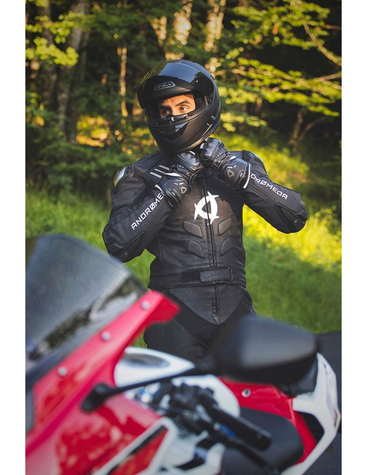 The NearX vegan motorcycle suit, by Andromeda Moto