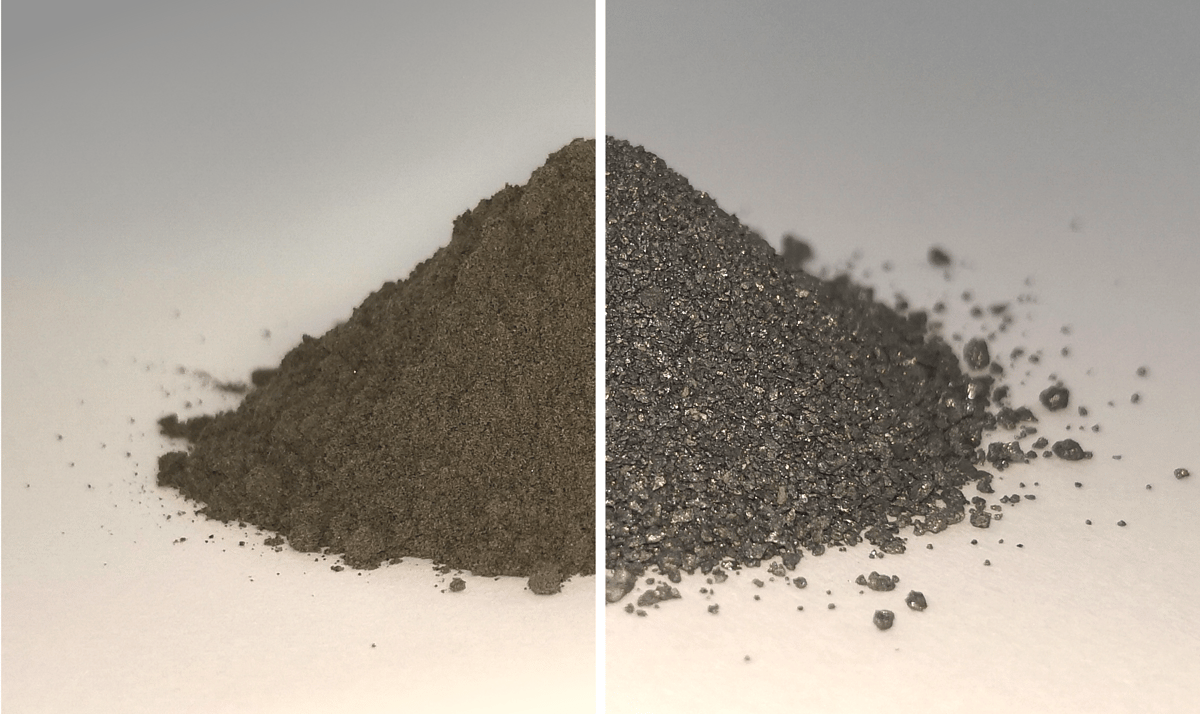 Simulated moondust, showing before (left) the oxygen is removed, and (right) the mostly-metal makeup afterwards
