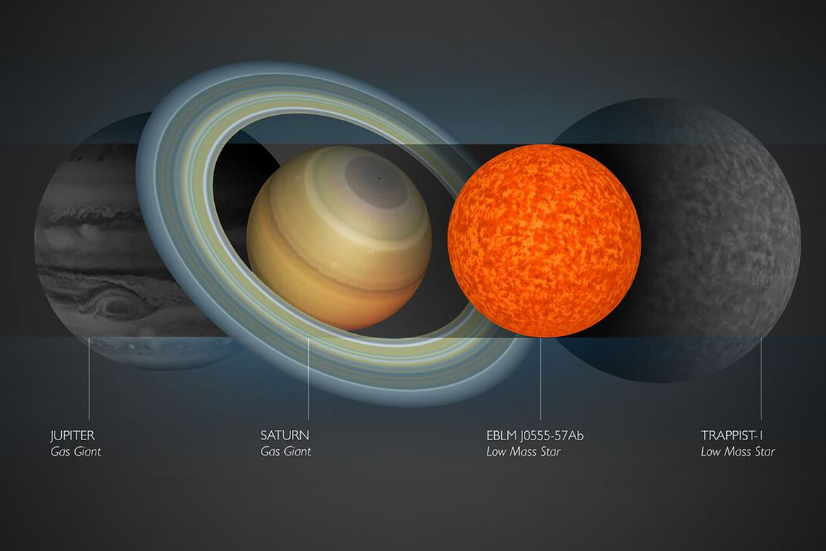 EBLM J0555-57Ab pictured next to TRAPPIST-1, Jupiter, and Saturn