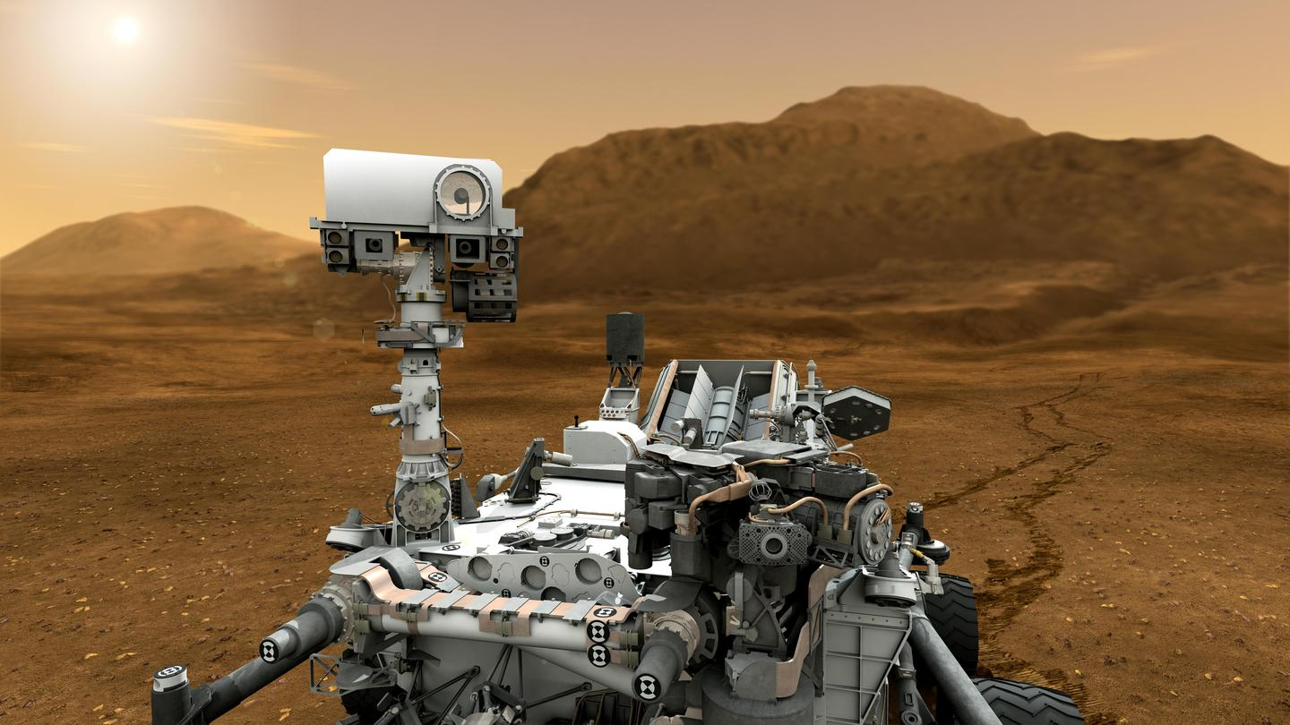 Artist's concept of Curiosity;s mast with ChemCam on top (Image: NASA)