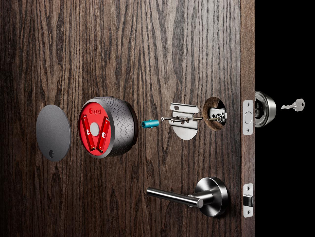 August's series of smart locks are attached to the inside of standard deadbolt doors, leaving the outside lock unchanged