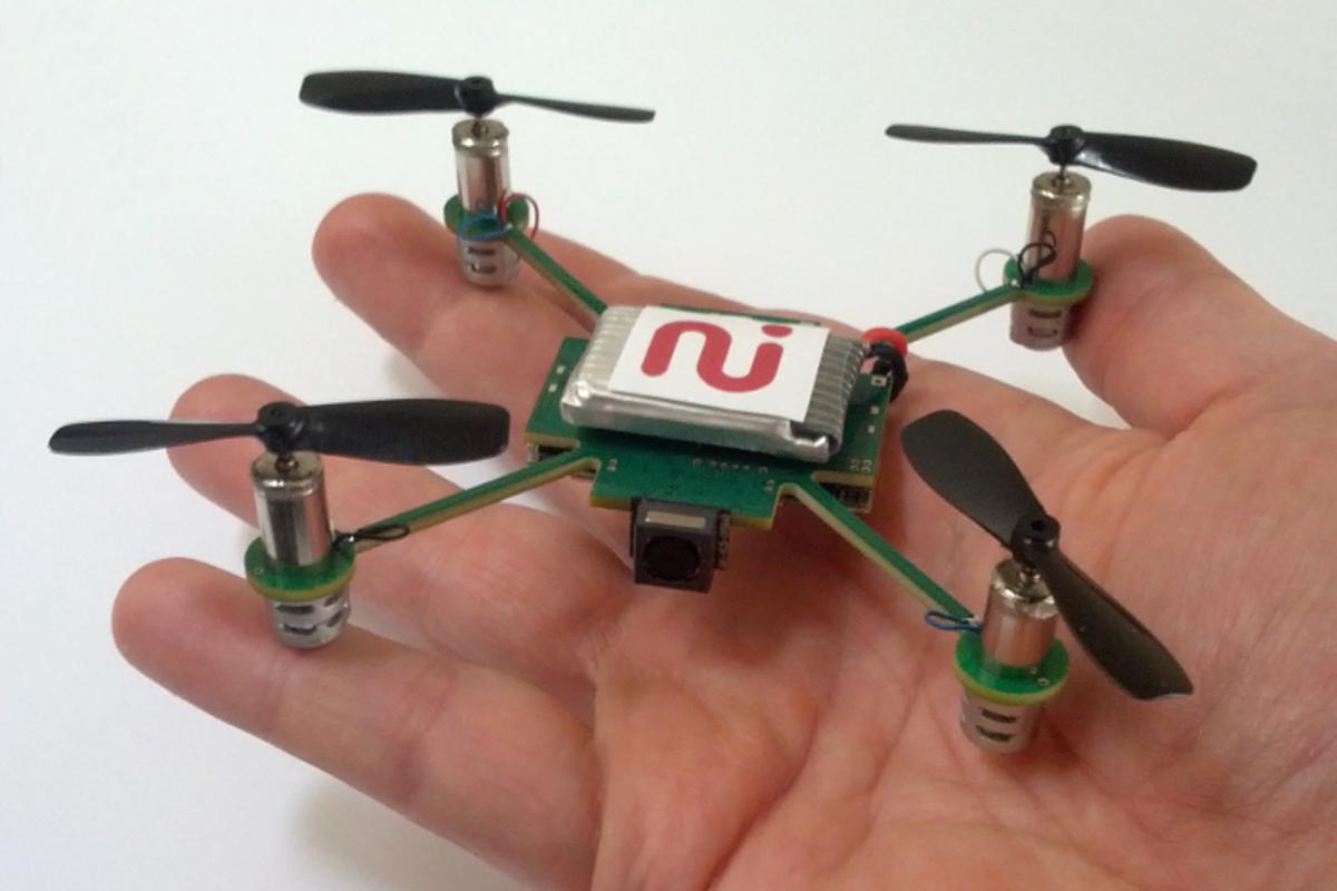 The MeCam is a tiny autonomous quadrotor UAV currently in development