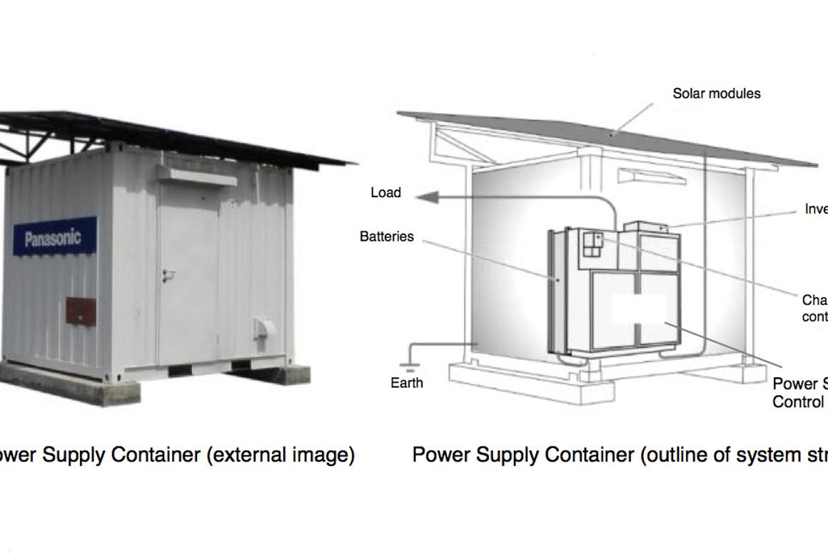 Panasonic's Power Supply Container is a self-contained solar power plant designed for developing countries and remote areas