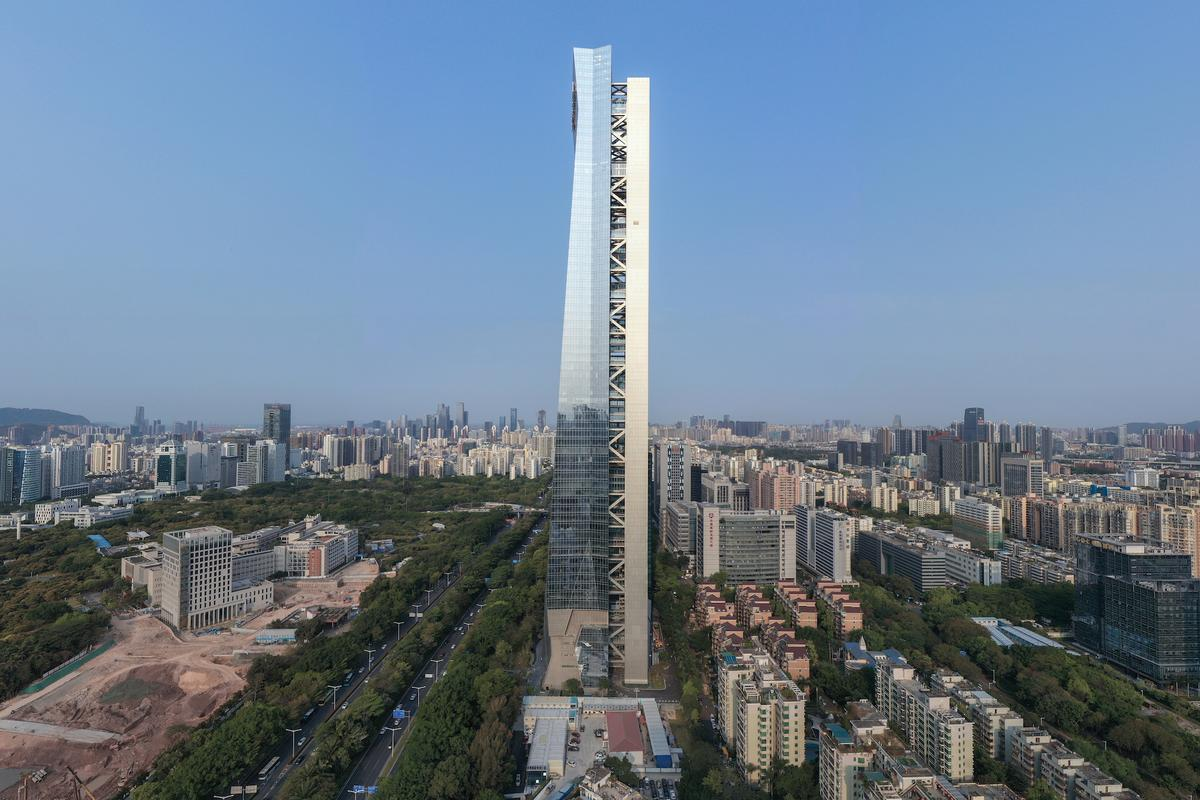Hanking Center in Shenzhen, China, is the tallest detached-core skyscraper in the world and reaches a maximum height of 359.8 m (1,180 ft)