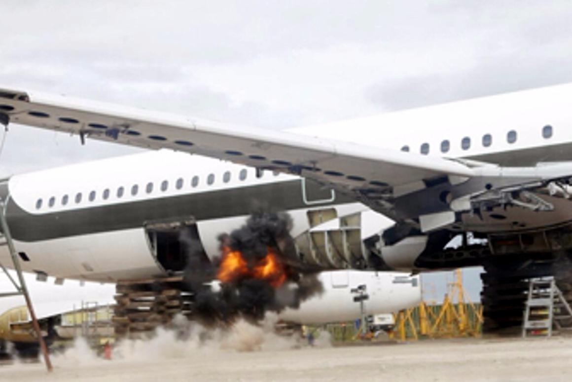 Fly-Bag was demonstrated this week during a series of controlled explosions in the holds of disused aircraft, both with and without the protective liner