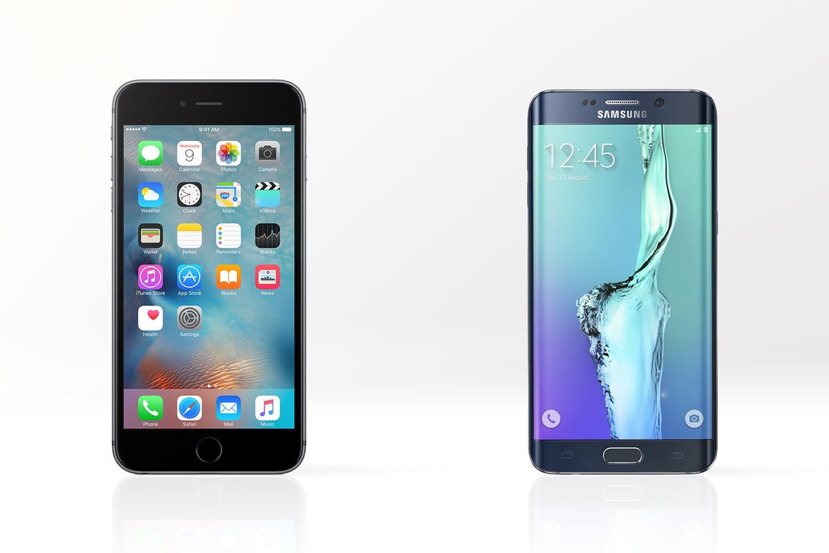 Gizmag compares the features and specs of the new Apple iPhone 6s Plus (left) and Samsung Galaxy S6 edge+