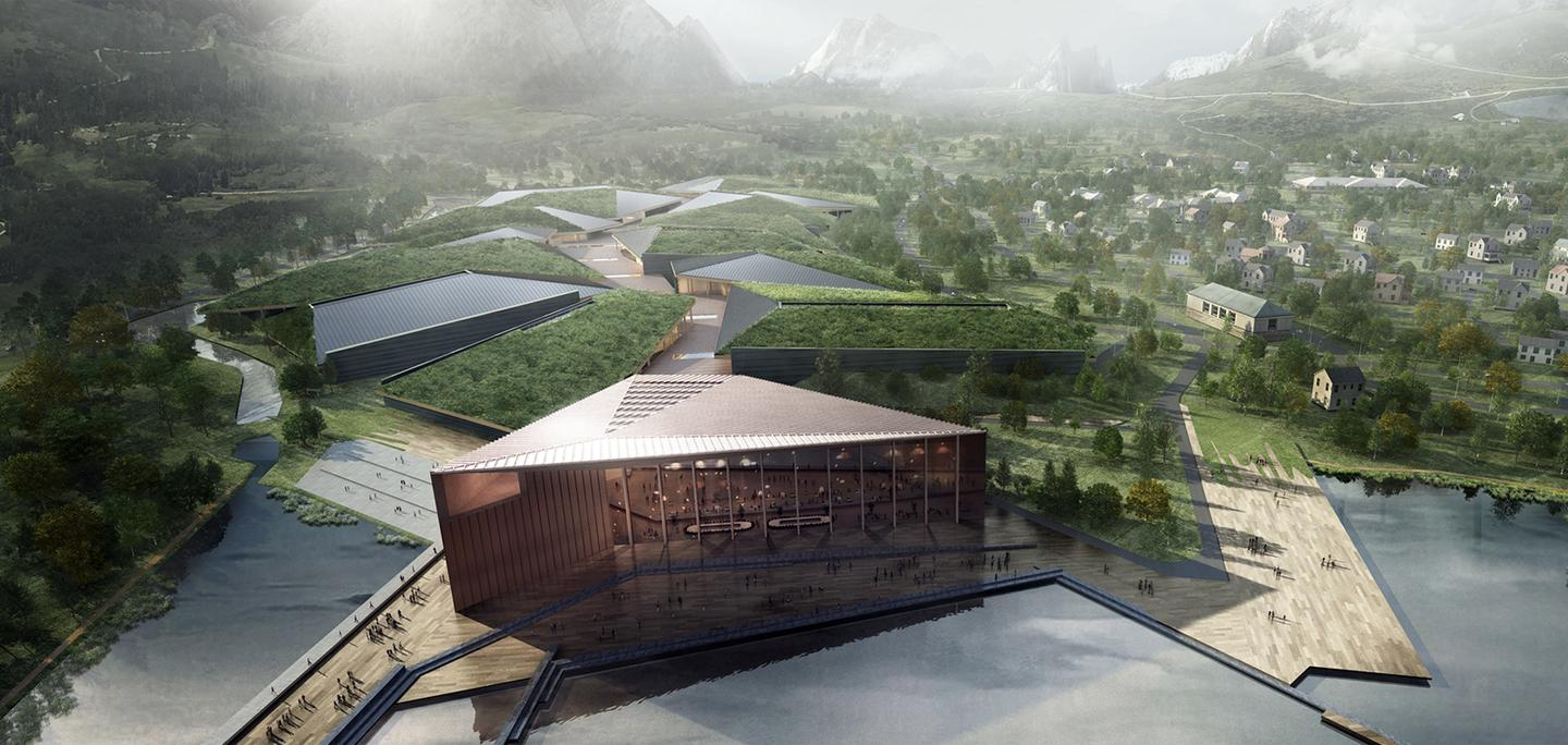 An artist's rendition of the Kolos data center, being built in northern Norway