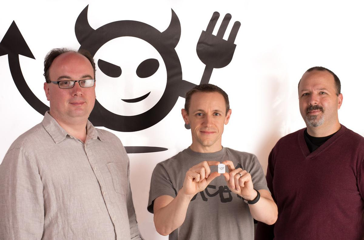 (From left) Imp Electric founders Peter Hartley, Hugo Fiennes and Kevin Fox show off the Imp