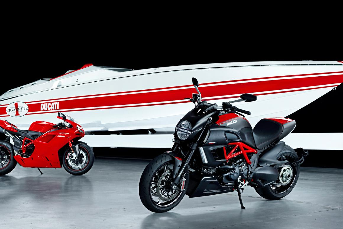 Ducati's 1198S and Diavel pictured with the Cigarette 42x Ducati Edition