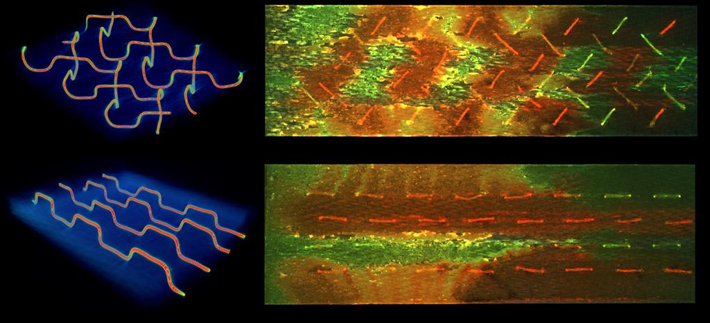 The new self-healing system features 3D vascular networks that release healing agents when ruptured – a herringbone pattern (top) was found to be more effective than a parallel design (bottom)