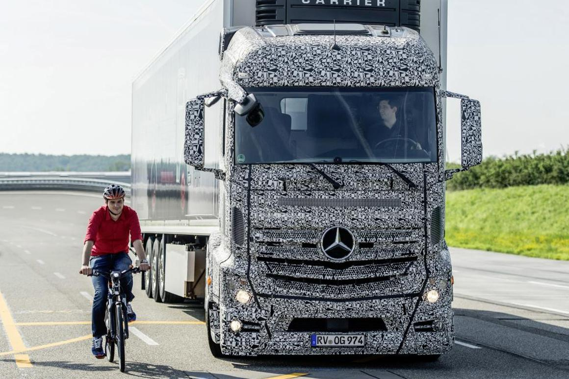 Mercedes-Benz has developed a radar-based system that alerts the truck driver of imminent collision danger