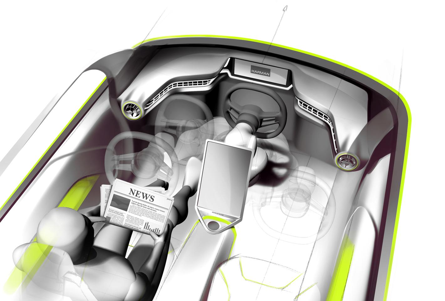 Rendering of the Budii interior and its adjustable steering wheel