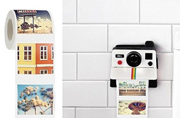 The Polaroll is a toilet paper holder shaped like a Polaroid camera