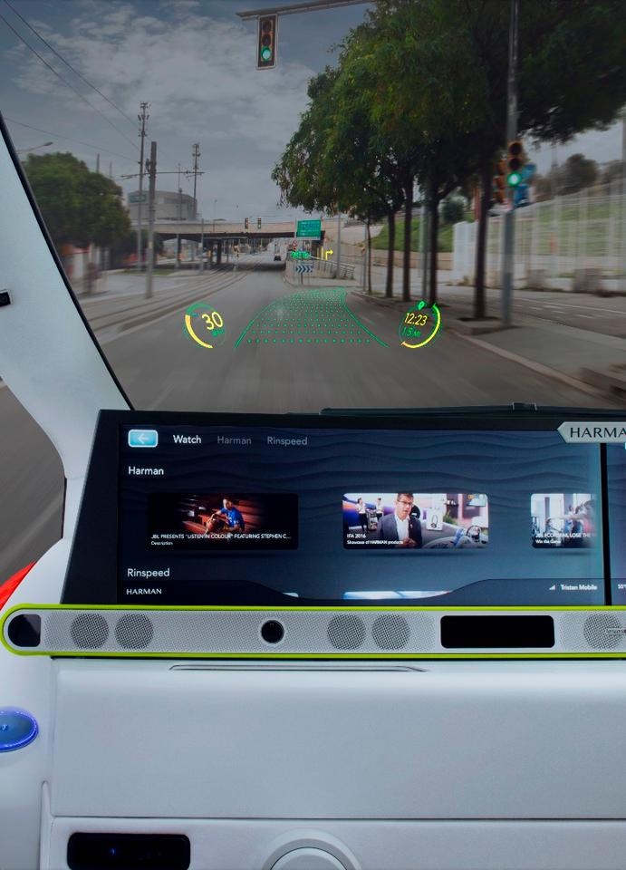 The WayRay system uses the windshield as a large head-up display