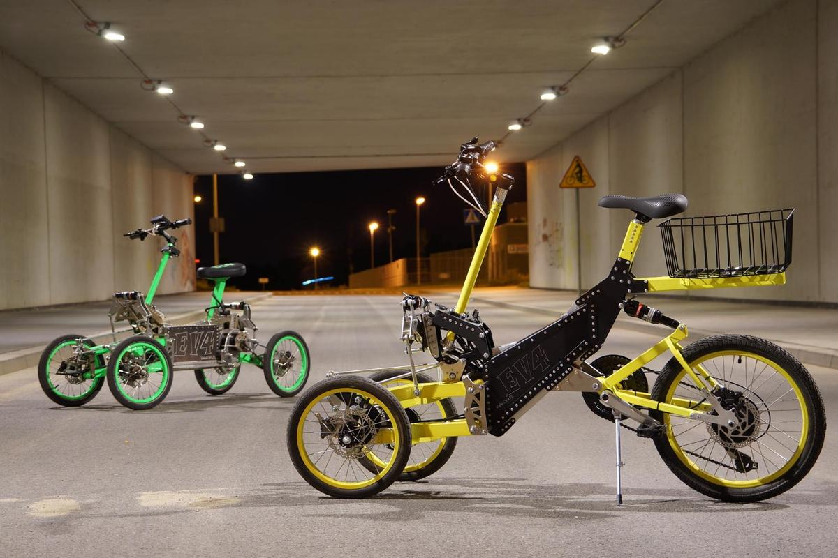 The new EV4 e-trike has the same design aesthetic as last year's tilting quad bike