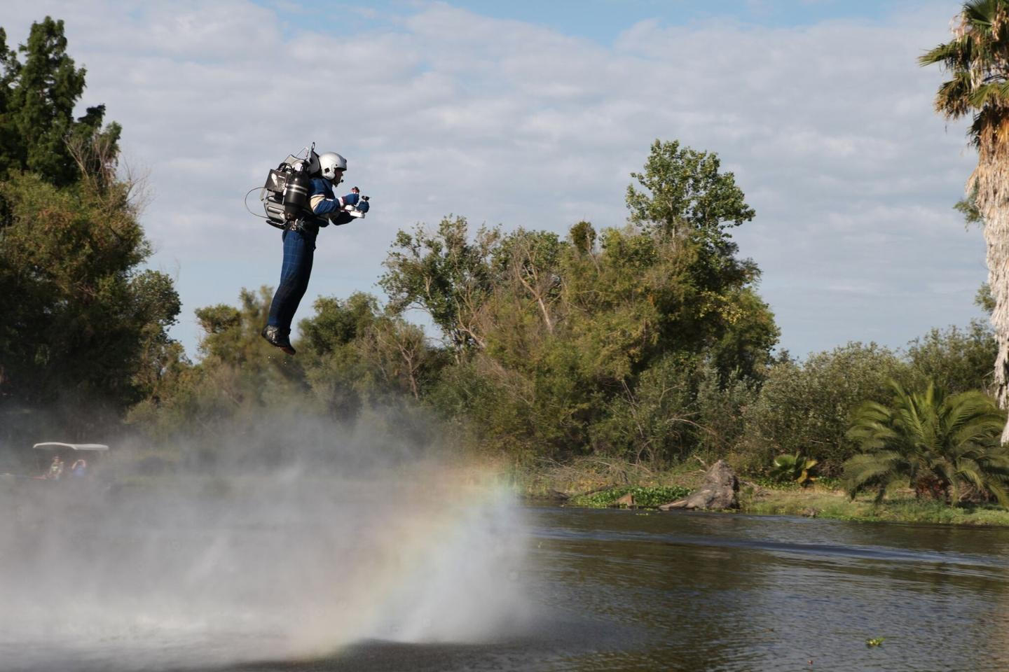 David Mayman takes to the air using the JB-9 jetpack from Jetpack Aviation